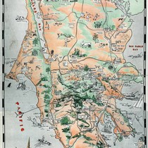 Map promoting the unique features of Marin County, issued by Marvelous Marin, ...