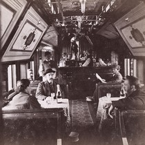 "1492. Commissary Car ""Elkhorn Club."" (interior view.)"