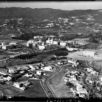 Aerial view of UCLA and Westwood Hills, 1936