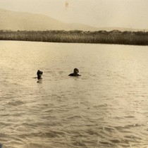 Beatrice Howitt and Alice Oge swimming in the San Rafael Canal, San ...