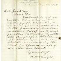 Correspondence from H.H. Haight [10th Governor of Ca.] to R.E. Jack