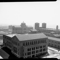 Aerial view of Chemistry Building (Haines Hall) with Library (Powell Library) and ...