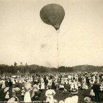 Balloon ascension and parachute drop by Frank Hamilton, Kentfield May Day Celebration, ...