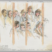 9/11/75 Jury, behind plastic translucent screen Marin Courtroom