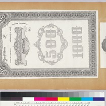 Album page with bank note vignettes