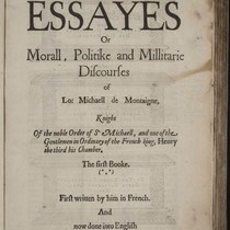 [Manuscript annotations on Michel de Montaigne's Essayes]