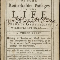 [Manuscript commentary on An Account of some remarkable passages in the life ...