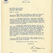 Correspondence from California Governor Earl Warren to Frank Herron Smith May 29, ...