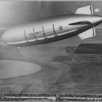 Airship Macon Approaching Moffett Field, 1933