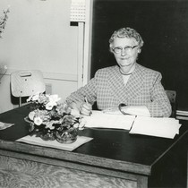 Banning, California educator Susan B. Coombs at her desk at Central Elementary ...