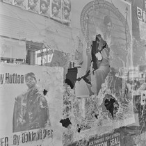 Plate glass window of the Black Panther Party National Headquarters, the morning ...