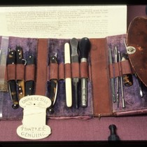 UCSF Origins of Excellence exhibit small surgical kit display