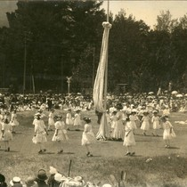 Children assembling to dance around the may poles, Kentfield May Day Celebration, ...