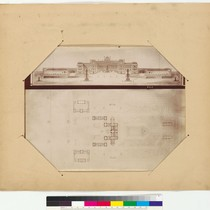 Architectural drawing with floorplan and elevation