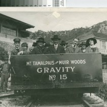 Mount Tamalpais and Muir Woods Railway Gravity Car No. 15 leaving summit ...