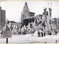 Christmas on the Moon exhibit in Oakland City Hall Plaza, December 1953