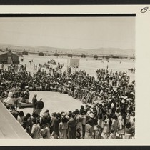 Scene at Topaz. Crowds entertained by Delta High School Band. Photographer: Bankson, ...