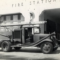 1943-44, WWII Pumper Fire Engine in front of Coronado Fire Station located ...