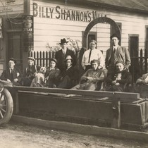 Group of boxers and their fans, pictured in front of Billy Shannon's ...