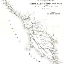 Map of the North Pacific Coast Railroad, a narrow gauge railroad, in ...