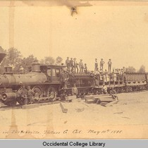 First train in Porterville, Tulare Co. Cal. May 10th, 1888