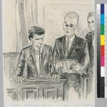 Sirhan testifying about Book - with Cooper and Fitts to the right