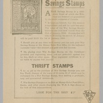 $5,00 for $4,00 War Savings Stamps: Thrift Stamps; on Verso: Know How ...