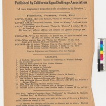 Campaign Literature, Published by California Equal Suffrage Association