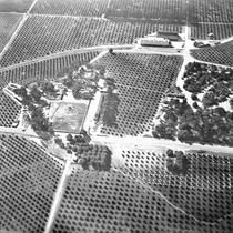 Aerial view of Hewes Park, Orange, California: Photograph