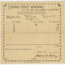 [Chorro Street Widening Assessment Receipt]