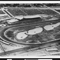 Aerial view of Hollywood Park horse racetrack, ca.1930