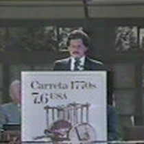 Broadcast news coverage of the Carreta stamp First Day of Issue Ceremony ...