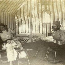 Visitors in a tent cabin at the Blithedale Hotel, Mill Valley, circa ...