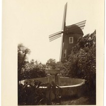 Garden foundation with windmill in background