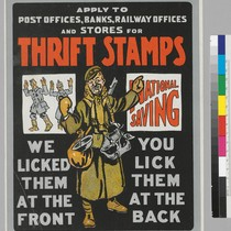 Apply to post offices, banks, railway offices, and stores for Thrift Stamps: ...