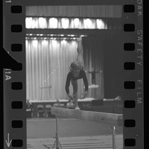 15 year-old Cathy Rigby on balance beam during AAU Gymnastic Meet in ...