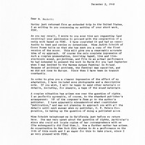 Ping: Correspondence: Letter from Roger Reynolds to Samuel Beckett; page 1