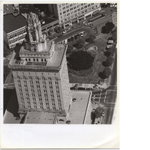 Aerial view of Oakland City Hall looking toward San Pablo Avenue, circa ...