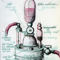 "Saxton T. Pope illustration of ""intra-tratracheal anaesthesia apparatus"""