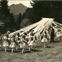 Contingent of schoolchildren en route to the Kentfield May Day Celebration, circa ...