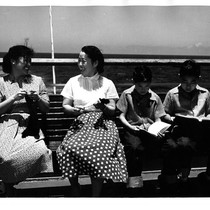 """2 Japanese women & boys on deck AHP '54"""