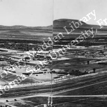 Aerial view of unidentified relocation center