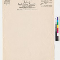 California Equal Suffrage Association letterhead (President, Mrs. Mary McHenry Keith)