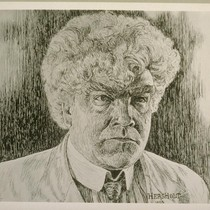 Gibson Gowland as McTeague. Drawing by Jean Hersholt. [Photographic reproduction. Original drawing ...