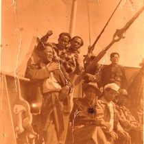 Filipino migrant workers aboard ship