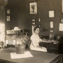 Mrs. Genevieve Smith, the Women's Matron, in her office in the woman's ...
