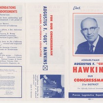 "Election brochure for Assemblyman Augustus F. ""Gus"" Hawkins"