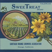 Crate label, SweeTreat Brand, Orange, California, 1920s