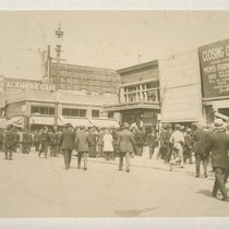 [Crowd gathered around bomb explosion site. Corner of Steuart and Market Streets, ...
