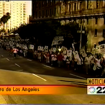 Hotel workers' protests (2004) TV news coverage